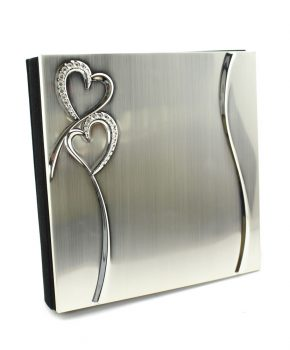 2-Tone Guest Book Brushed/Shiny Silver Finish Hearts