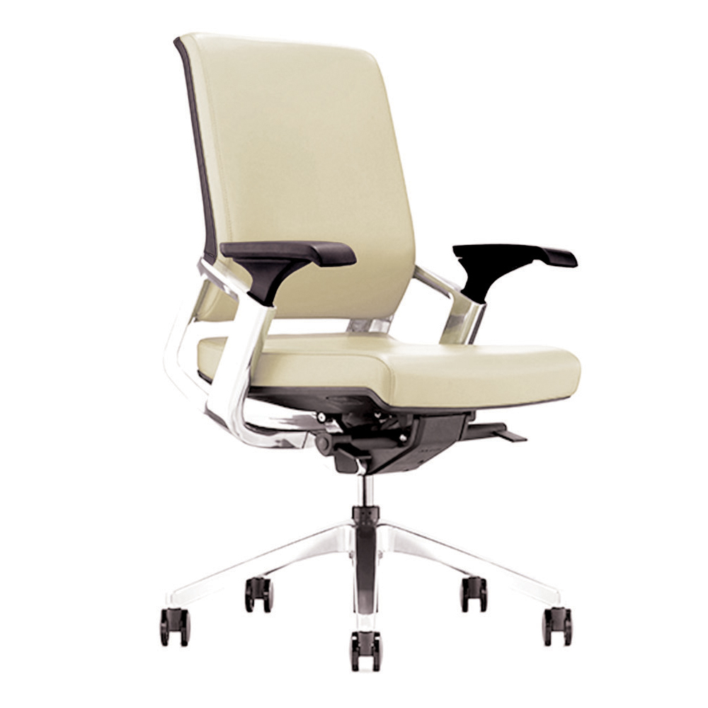 25168_Titan Mid Back Leather Executive Chair, White